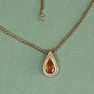 Vintage Avon Citrine Teardrop Gold Tone Necklace